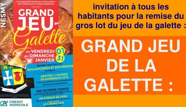 Grand Jeu de la Galette : Tirage au sort le 5 mars 2016 !