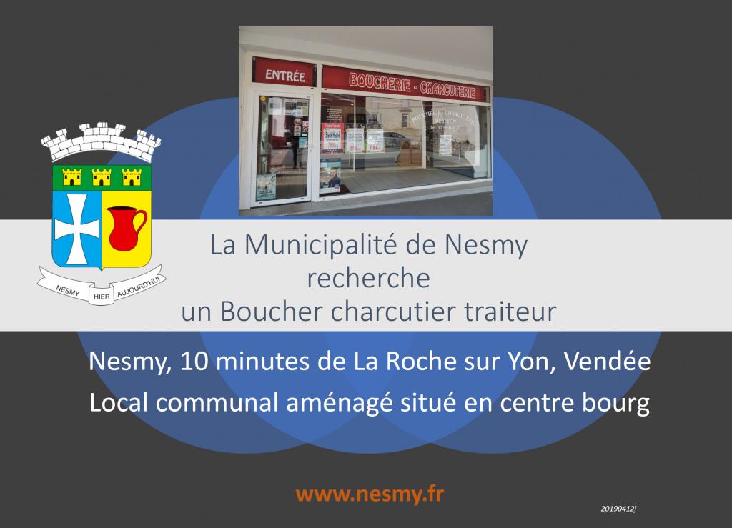 La Municipalité de Nesmy recherche un Boucher-charcutier-traiteur (F-85310).
